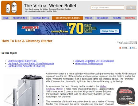 Leaderboard 728x90 banner ad on The Virtual Weber Bullet
