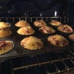 Barbecue breakfast cupcakes baking in the oven