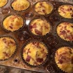 Finished barbecue breakfast cupcakes resting in the muffin pan