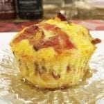 Close-up of a Barbecue Breakfast Cupcake made with bacon