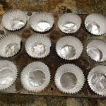 Foil baking cups in muffin pan