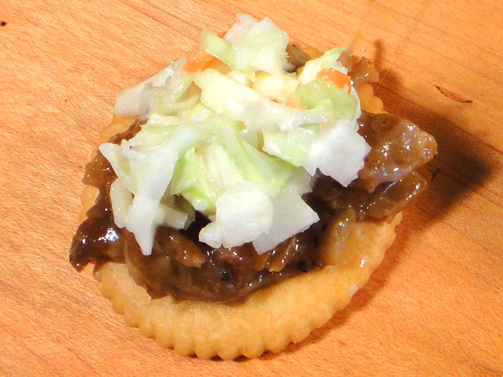 Chopped pork cracker with coleslaw