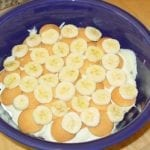 Layering wafers, bananas, and pudding
