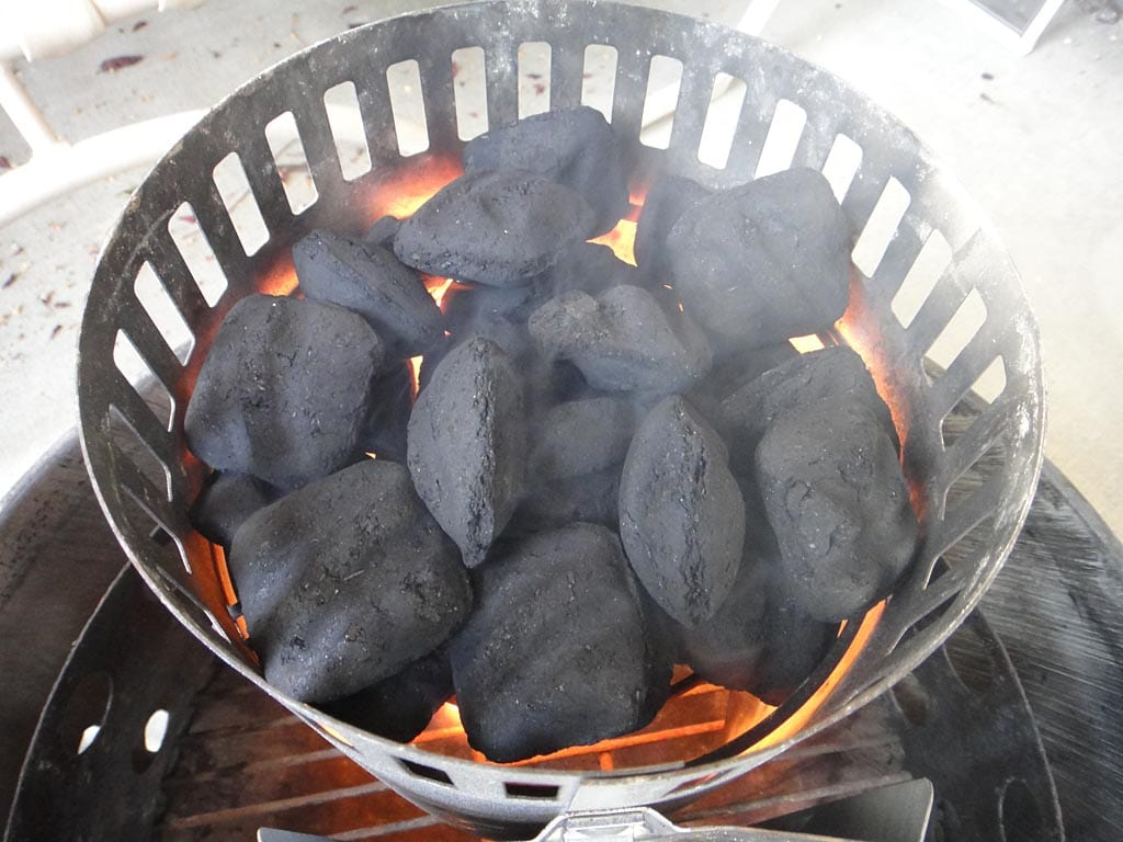 Lighting 30 briquets in upside down charcoal chimney