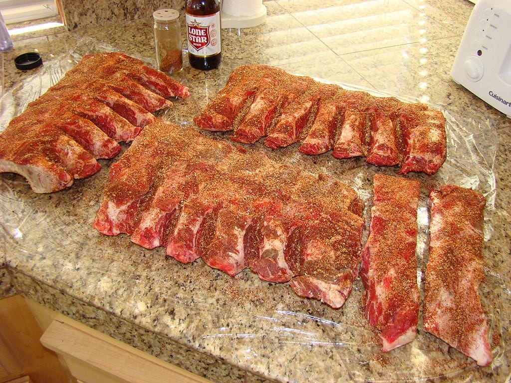 Beef back ribs rubbed and ready for the WSM