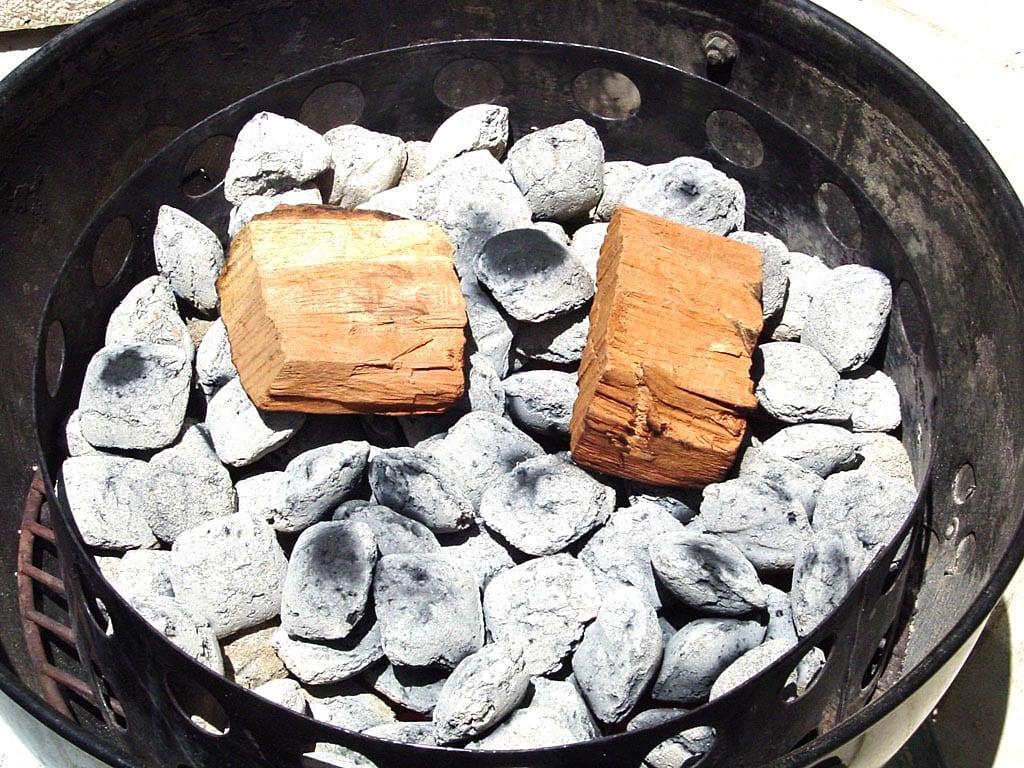 Two chunks of dry cherry smoke wood