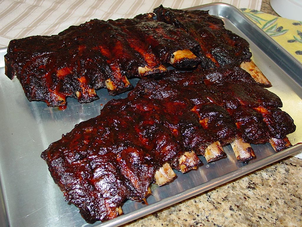 Beef back ribs after cooking and saucing