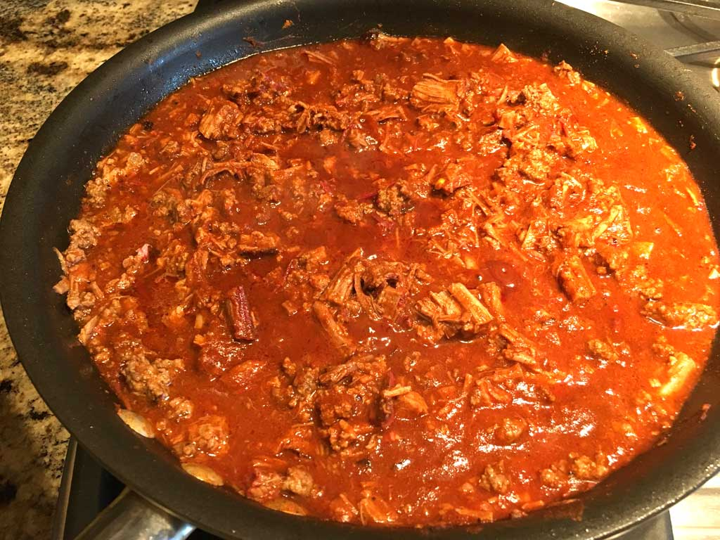 Half brisket, half ground beef chili