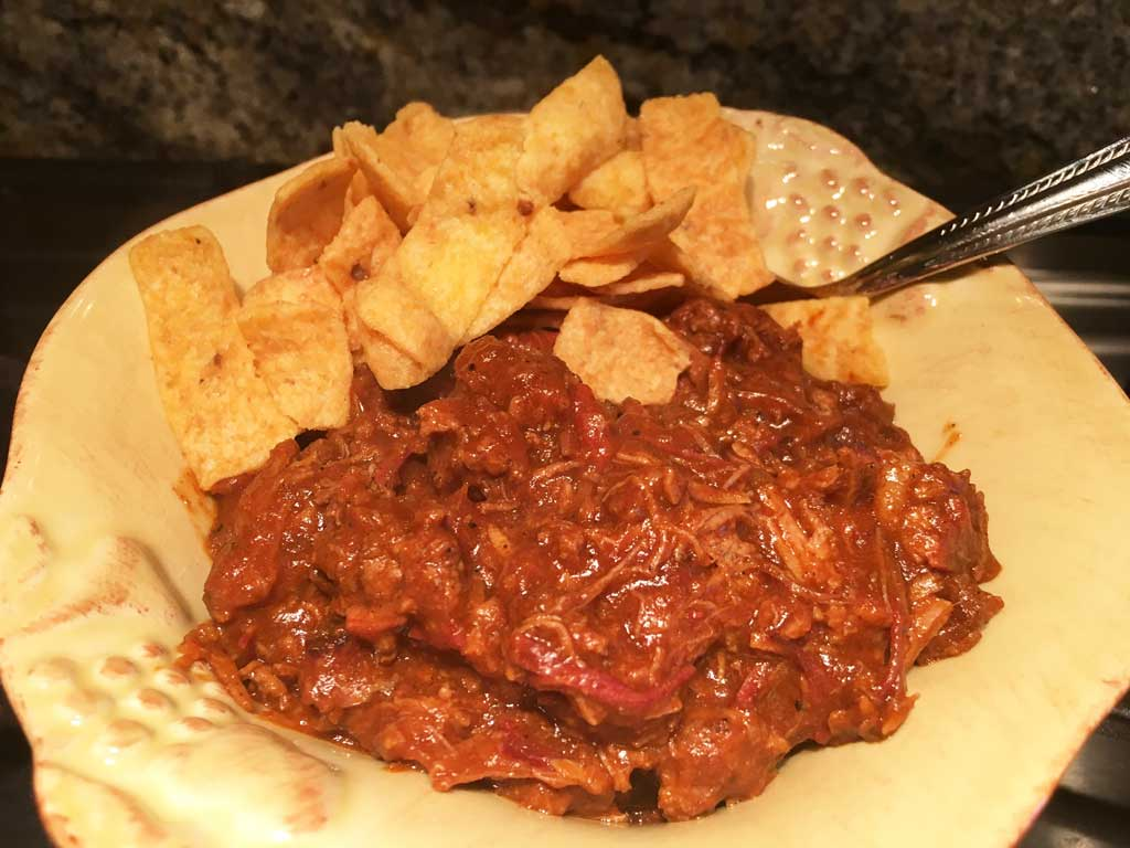 Brisket & ground beef chili with Fritos Corn Chips