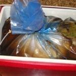 Turkey and brine in a Ziploc Big Bag XL inside a cooler