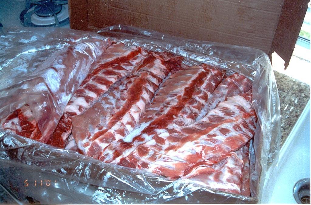 Case of pork loin back ribs