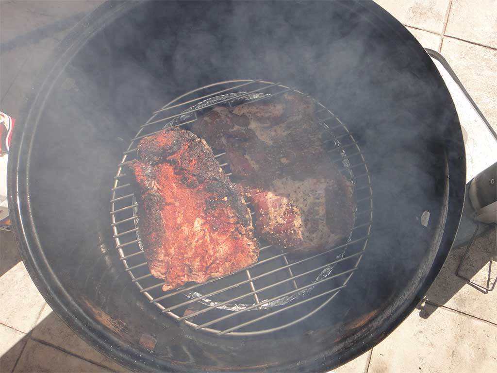 Already smoked brisket points go back into the WSM for 4-6 hours
