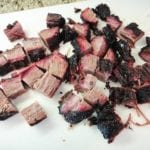 Brisket point cut into 1-inch cubes
