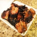 Burnt ends mixed with barbecue sauce/au jus mixture