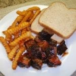 Burnt ends with seasoned fries