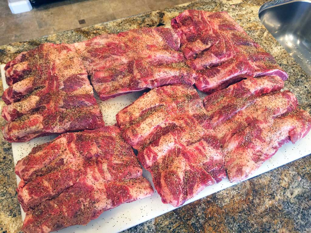 Rub applied to beef back ribs