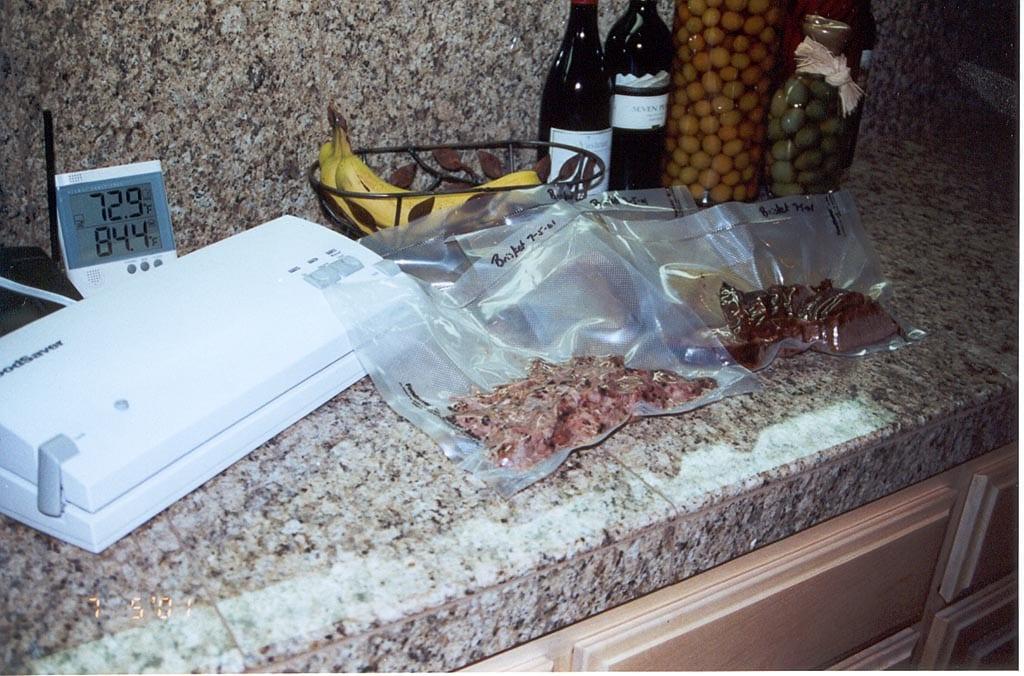 Vacuum packaging brisket using a FoodSaver