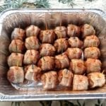Bacon-wrapped meatballs ready for cooking