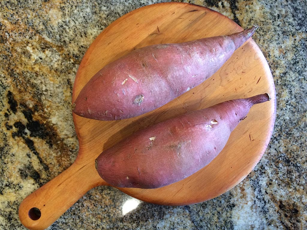 Two unpeeled yams