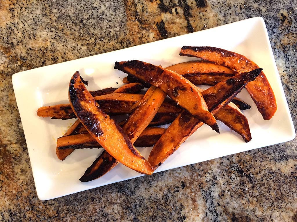 Sweet potato wedges ready to eat