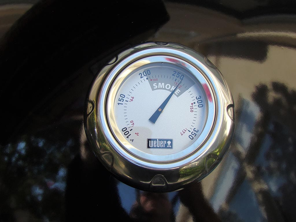 Thermometer showing cooker temperature