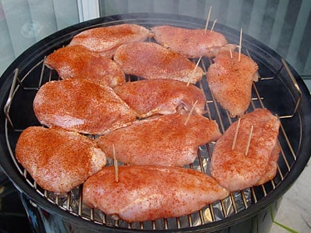 Breasts go into the smoker