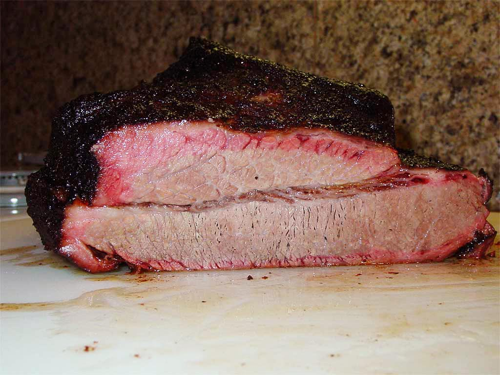 Cross-section of whole cooked brisket