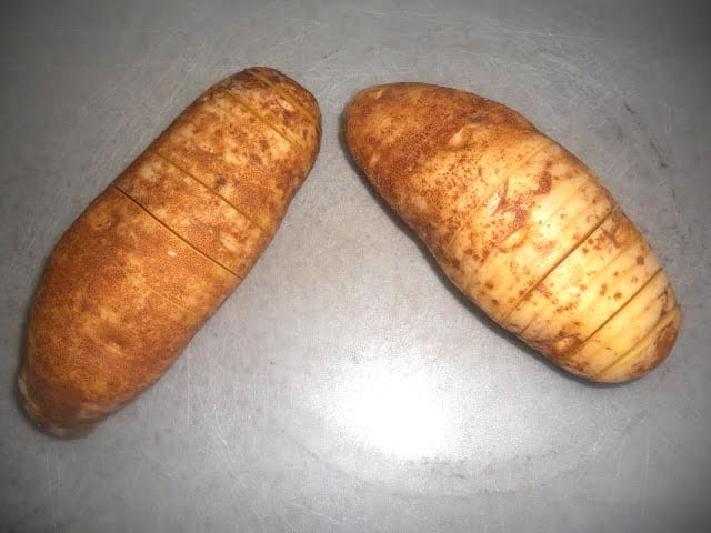 Potatoes cut into 1/4-inch slices