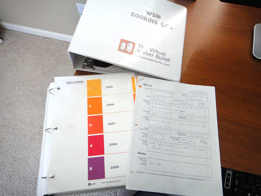 My cooking log binders. Log sheets are dated and organized by year.