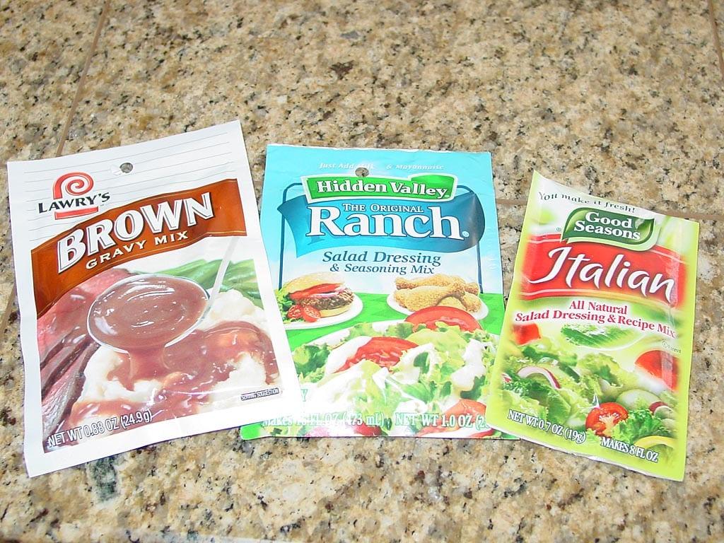 Three packets of seasoning mixes