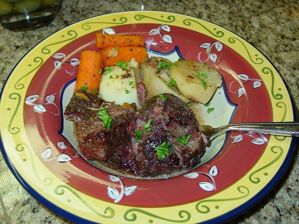 Chuck roast, potatoe, and carrots plated