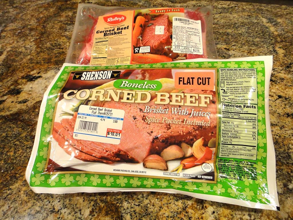 Corned beef brisket flats in packaging