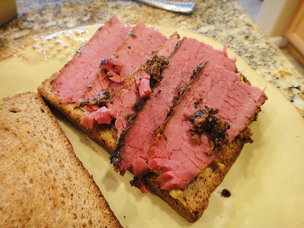 Making a sandwich with quick pastrami