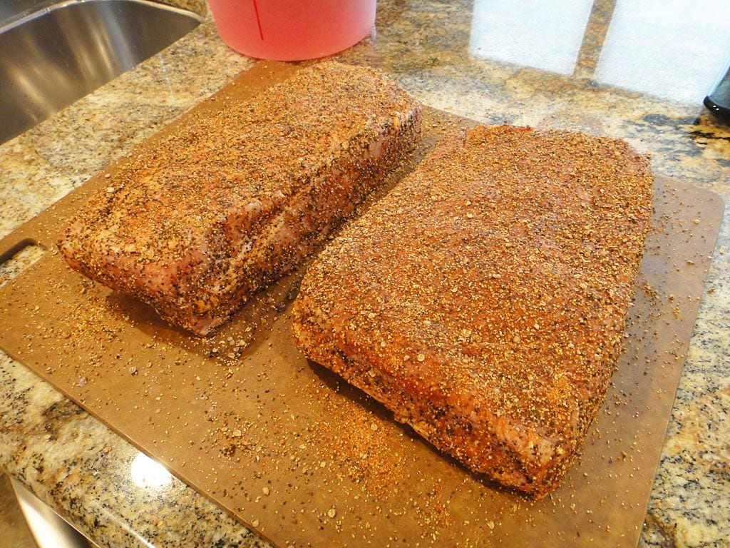 Pastrami rub applied to corned beef