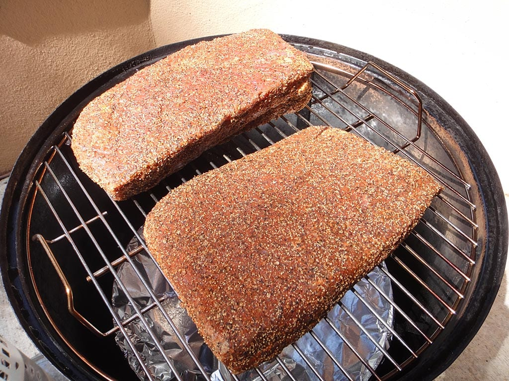 Rubbed corned beef goes into the WSM