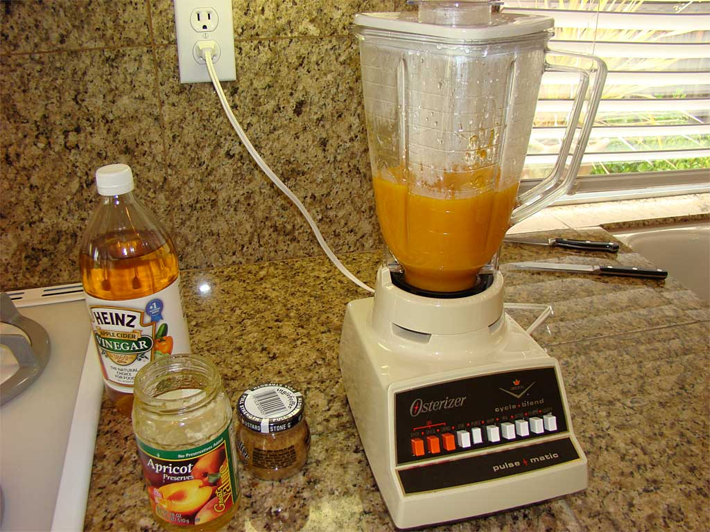 Running hot preserves through the blender