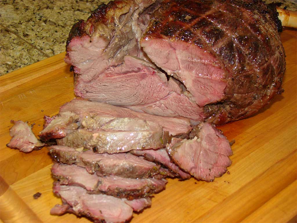 Sliced leg of lamb