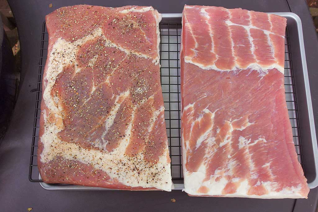 Pork belly after drying 8 hours in refrigerator
