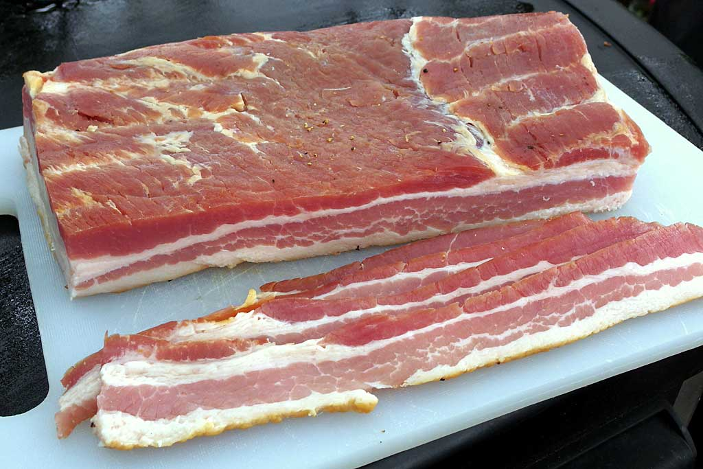 Sliced homemade bacon