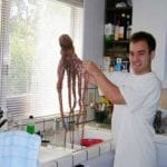 Kevin holding up the octopus