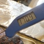 Thermapen measuring pork butt temp