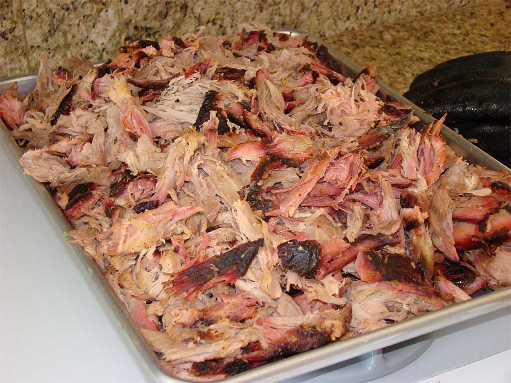 Tray of pulled pork butt