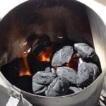 Hot coals inside Weber chimney