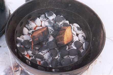 Hot coals and smoke wood