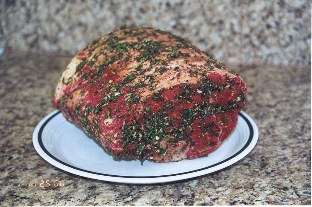 Prime rib roast with herb paste applied