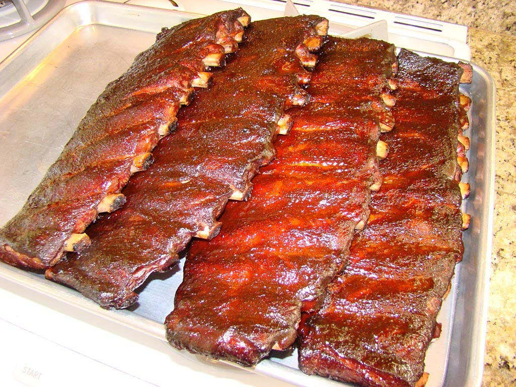 Finished slabs of spareribs