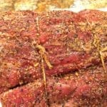 Close-up of rubbed standing rib roast