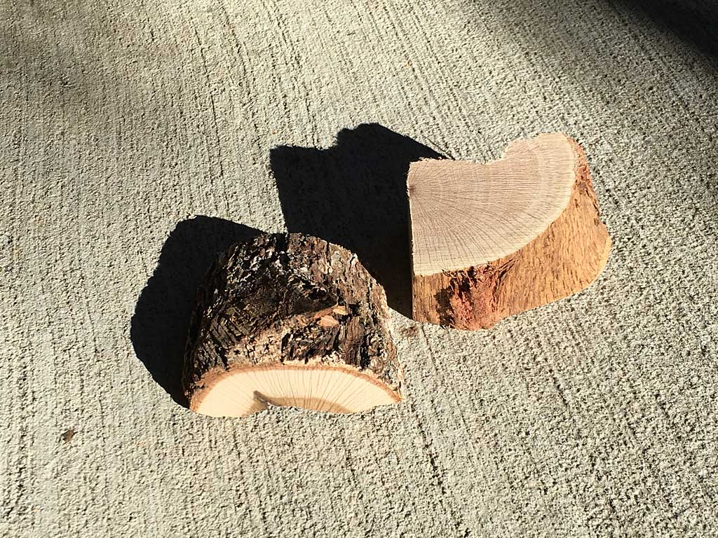 Two chunks of oak smoke wood
