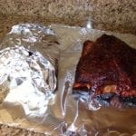 Wrapping short ribs in aluminum foil