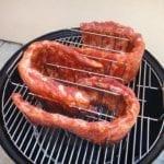 St. Louis Style pork spareribs in rib rack